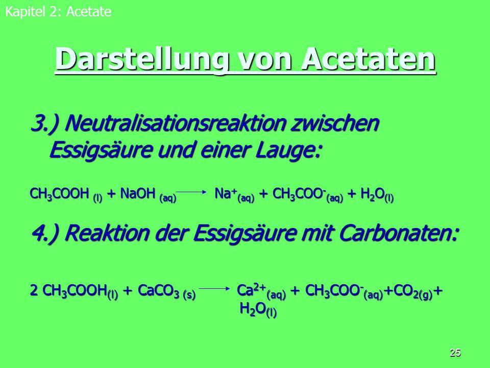 25 Darstellung von Acetaten 3.) Neutralisationsreaktion zwischen Essigsäure und einer Lauge: CH 3 COOH (l) + NaOH (aq) Na + (aq) + CH 3 COO - (aq) + H