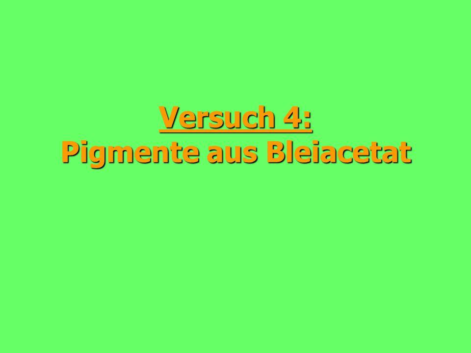 """32 Kapitel 2: Acetate a.) Reaktion mit Natriumcarbonat: Pb 2+ (aq) + 2 CH 3 COO - (aq) + 2 Na + (aq) + CO 3 2- (aq) PbCO 3 (s) + 2 Na + (aq) + 2 CH 3 COO - (aq)  Bleicarbonat: Weißpigment (""""Bleiweiß )  K L = 3,3."""