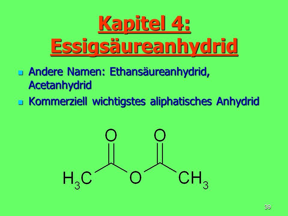 40 Eigenschaften Farblose Flüssigkeit Farblose Flüssigkeit Smp.: - 73° C / Sdp.: 139° C Smp.: - 73° C / Sdp.: 139° C Gut löslich in Ethanol, Aceton, Chloroform, Ether, Essigsäure u.a.