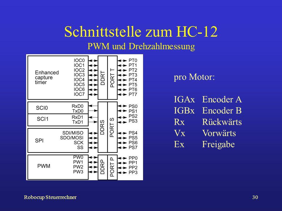 Robocup Steuerrechner30 Schnittstelle zum HC-12 PWM und Drehzahlmessung pro Motor: IGAxEncoder A IGBxEncoder B RxRückwärts VxVorwärts ExFreigabe