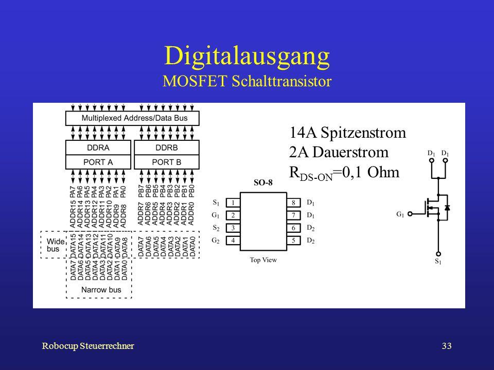 Robocup Steuerrechner33 Digitalausgang MOSFET Schalttransistor 14A Spitzenstrom 2A Dauerstrom R DS-ON =0,1 Ohm