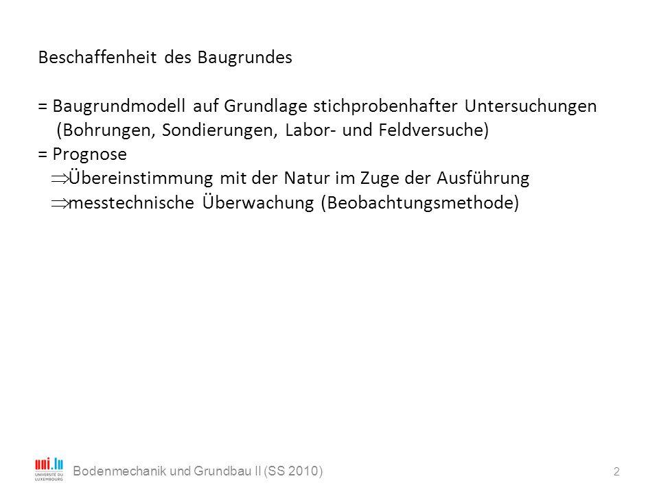 2 Bodenmechanik und Grundbau II (SS 2010) Beschaffenheit des Baugrundes = Baugrundmodell auf Grundlage stichprobenhafter Untersuchungen (Bohrungen, So