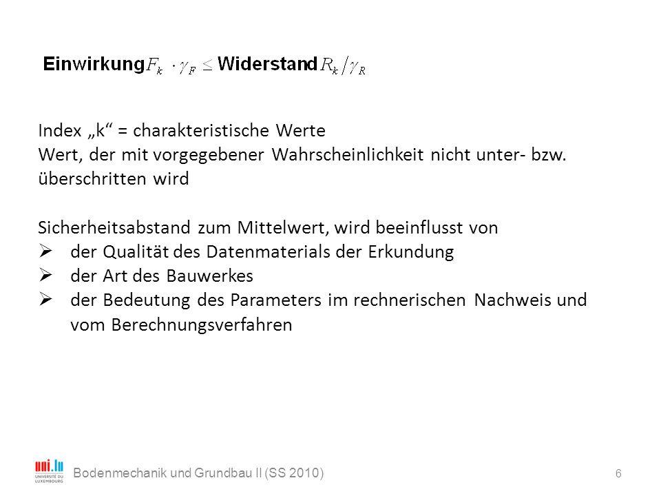 """6 Bodenmechanik und Grundbau II (SS 2010) Index """"k"""" = charakteristische Werte Wert, der mit vorgegebener Wahrscheinlichkeit nicht unter- bzw. überschr"""