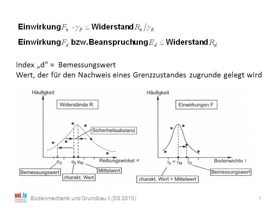 """7 Bodenmechanik und Grundbau II (SS 2010) Index """"d"""" = Bemessungswert Wert, der für den Nachweis eines Grenzzustandes zugrunde gelegt wird"""