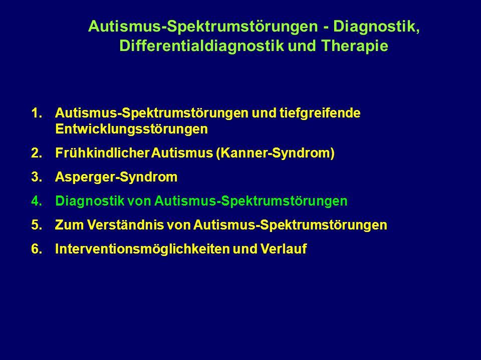 Autismus-Spektrumstörungen - Diagnostik, Differentialdiagnostik und Therapie 1.Autismus-Spektrumstörungen und tiefgreifende Entwicklungsstörungen 2.Fr