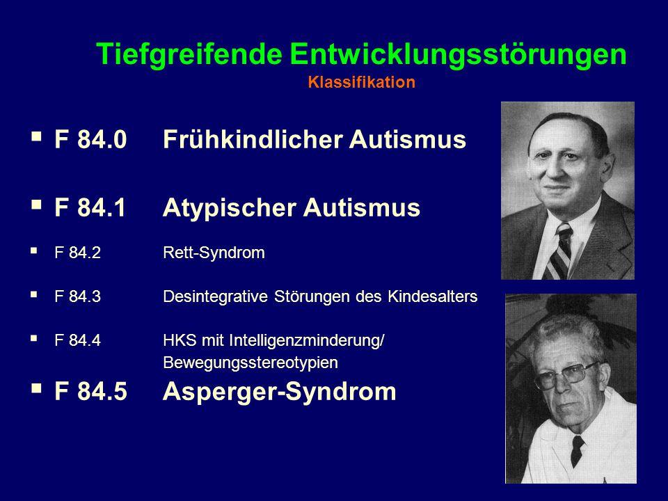 Tiefgreifende Entwicklungsstörungen Klassifikation  F 84.0 Frühkindlicher Autismus  F 84.1Atypischer Autismus  F 84.2Rett-Syndrom  F 84.3Desintegr