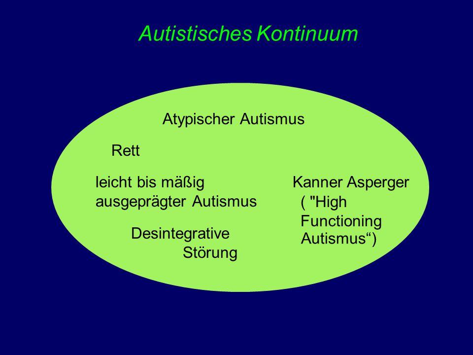 Autistisches Kontinuum Atypischer Autismus Rett leicht bis mäßig ausgeprägter Autismus Desintegrative Störung Kanner Asperger (