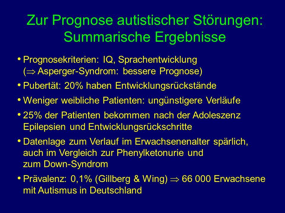 Zur Prognose autistischer Störungen: Summarische Ergebnisse Prognosekriterien: IQ, Sprachentwicklung (  Asperger-Syndrom: bessere Prognose) Pubertät: