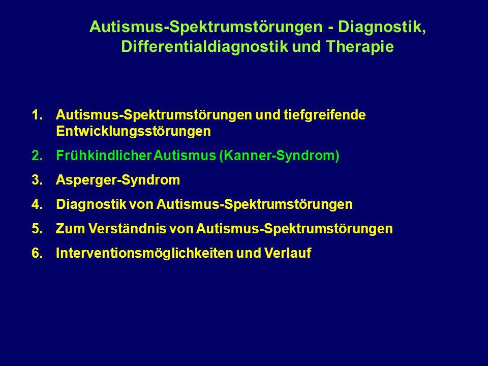 Diagnostik autistischer Störungen 1.Vorgeschichte: Sehr hilfreich sind Videoaufnahmen aus den ersten drei Lebensjahren 2.Beobachtungsmethoden: Klinische Beobachtungen Von speziellen Instrumenten gestützte Beobachtungen Videoaufzeichnungen als wichtiges Hilfsmittel 3.Interviews (mit Eltern und Patienten) Autismus-spezifische Interviews Interviews mit dem Fokus auf Begleiterkrankungen 4.Zusätzliche Laboruntersuchungen EEG Laboruntersuchungen Bildgebende Verfahren (CT, MRT, PET) 5.Tests und neuropsychologische Untersuchungen 6.Experimentelle Untersuchungen