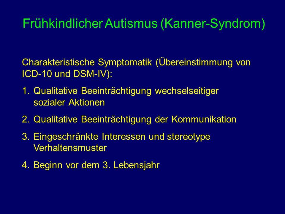 Frühkindlicher Autismus (Kanner-Syndrom) Charakteristische Symptomatik (Übereinstimmung von ICD-10 und DSM-IV): 1.Qualitative Beeinträchtigung wechsel