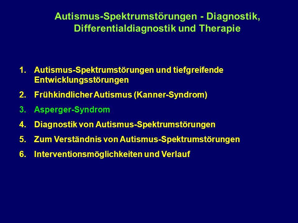 """Asperger-Syndrom und High Functioning Autismus 1926Ssucharewa, G.E.: """"Die schizoiden Psychopathen im Kindesalter 6 Jungen 1943Kanner, L.: """"Autistic disturbances of affective contact 11 Kinder 1944Asperger, H.: """"Die autistischen Psychopathen im Kindesalter 4 Kinder 1963van Krevelen, D.A.: """"Early infantile autism and autistic psychopathy 1971van Krevelen, D.A.: """"Early infantile autism and autistic psychopathy 1981Wing, L.: """"Asperger's syndrome: A clinical account Triade: Soziale Behinderung, Defizite in der Kommunikation und in der Phantasietätigkeit 34 Fälle 1992ICD-10 (WHO): Einbeziehung des A.S."""