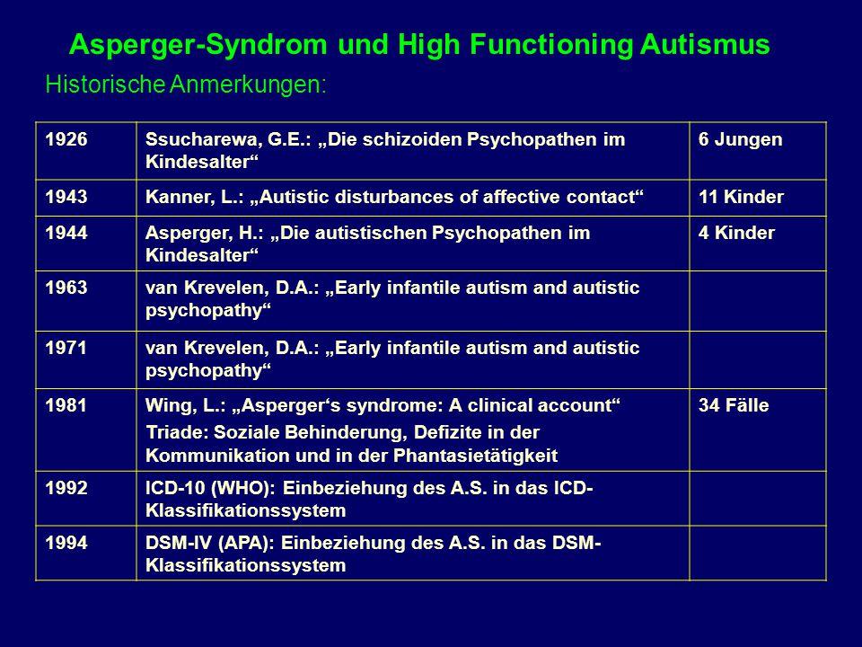 Vergleich charakteristischer Merkmale tiefgreifender Entwicklungsstörungen I AutismusAtypischer AutismusAsperger-Syndrom Alter bei Erstmanifestation < 3 J.> 3 J.