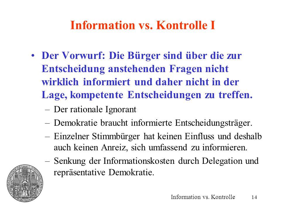 14 Information vs. Kontrolle I Der Vorwurf: Die Bürger sind über die zur Entscheidung anstehenden Fragen nicht wirklich informiert und daher nicht in