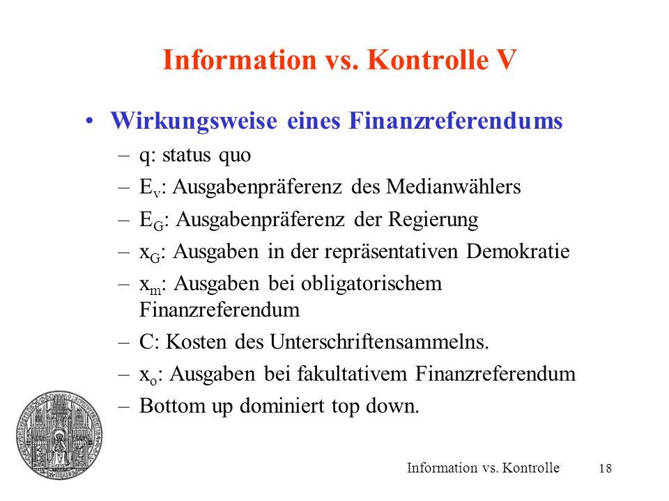 18 Information vs. Kontrolle V Wirkungsweise eines Finanzreferendums –q: status quo –E v : Ausgabenpräferenz des Medianwählers –E G : Ausgabenpräferen