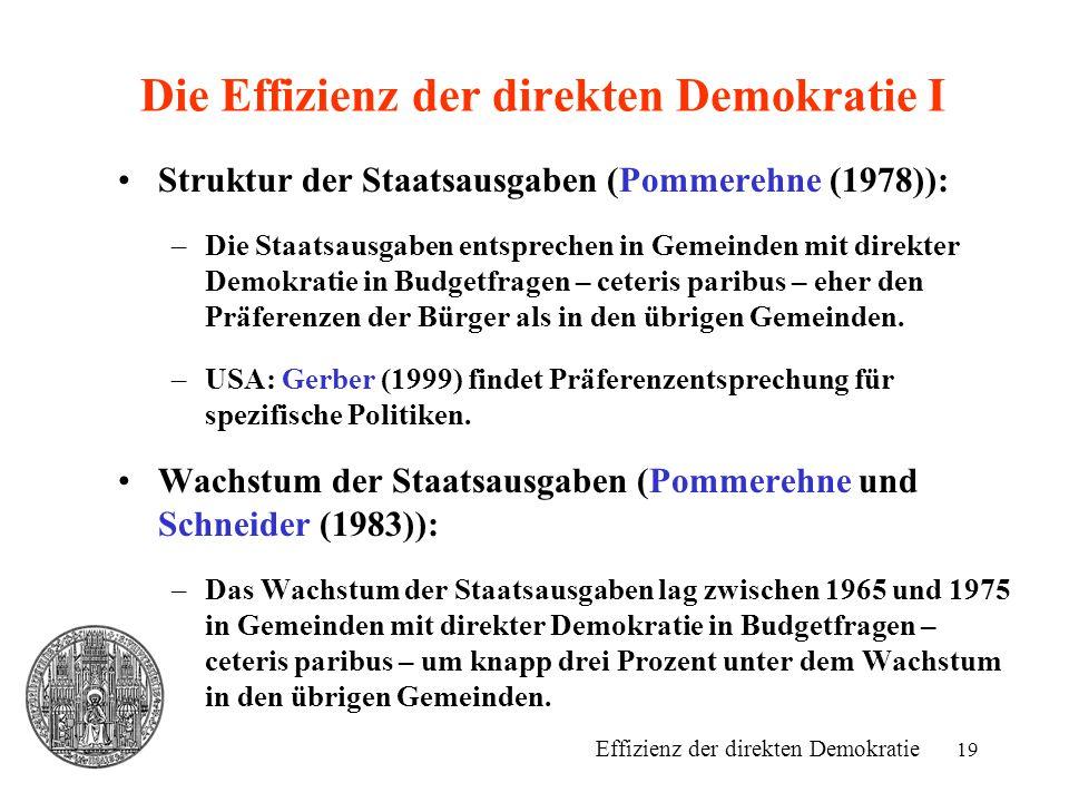 19 Die Effizienz der direkten Demokratie I Struktur der Staatsausgaben (Pommerehne (1978)): –Die Staatsausgaben entsprechen in Gemeinden mit direkter