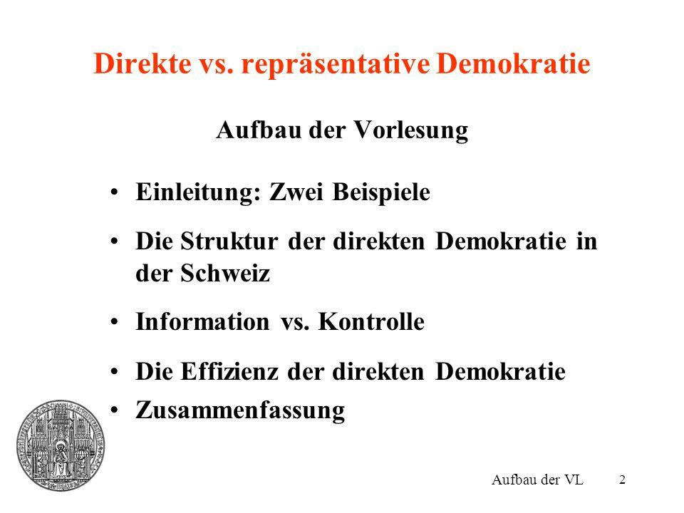 2 Direkte vs. repräsentative Demokratie Aufbau der Vorlesung Einleitung: Zwei Beispiele Die Struktur der direkten Demokratie in der Schweiz Informatio
