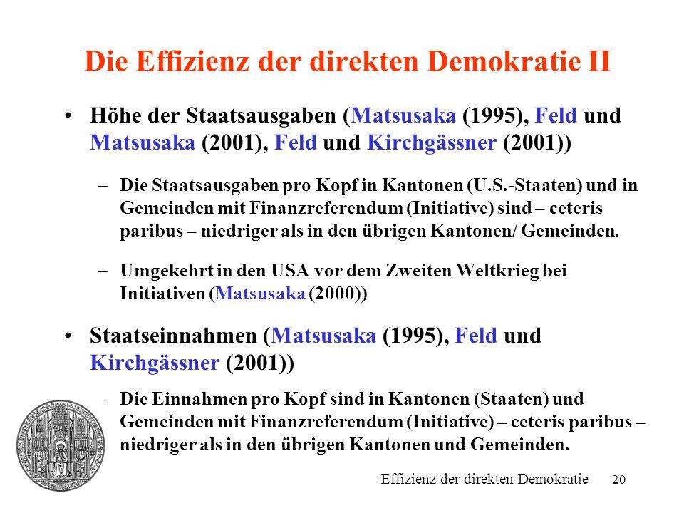 20 Die Effizienz der direkten Demokratie II Höhe der Staatsausgaben (Matsusaka (1995), Feld und Matsusaka (2001), Feld und Kirchgässner (2001)) –Die S