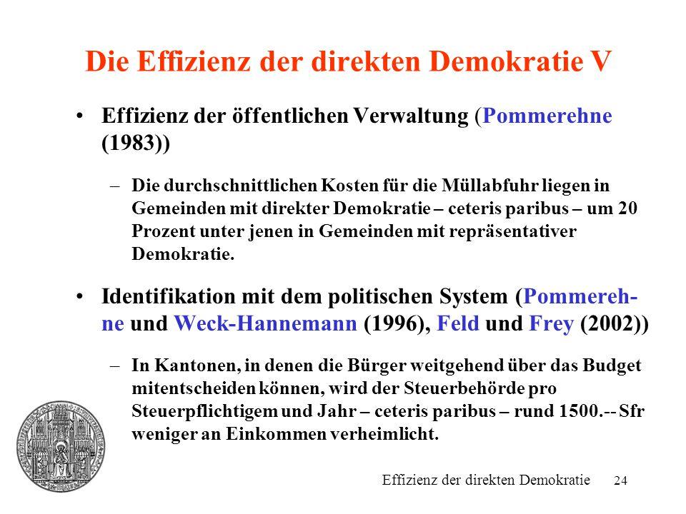 24 Die Effizienz der direkten Demokratie V Effizienz der öffentlichen Verwaltung (Pommerehne (1983)) –Die durchschnittlichen Kosten für die Müllabfuhr liegen in Gemeinden mit direkter Demokratie – ceteris paribus – um 20 Prozent unter jenen in Gemeinden mit repräsentativer Demokratie.