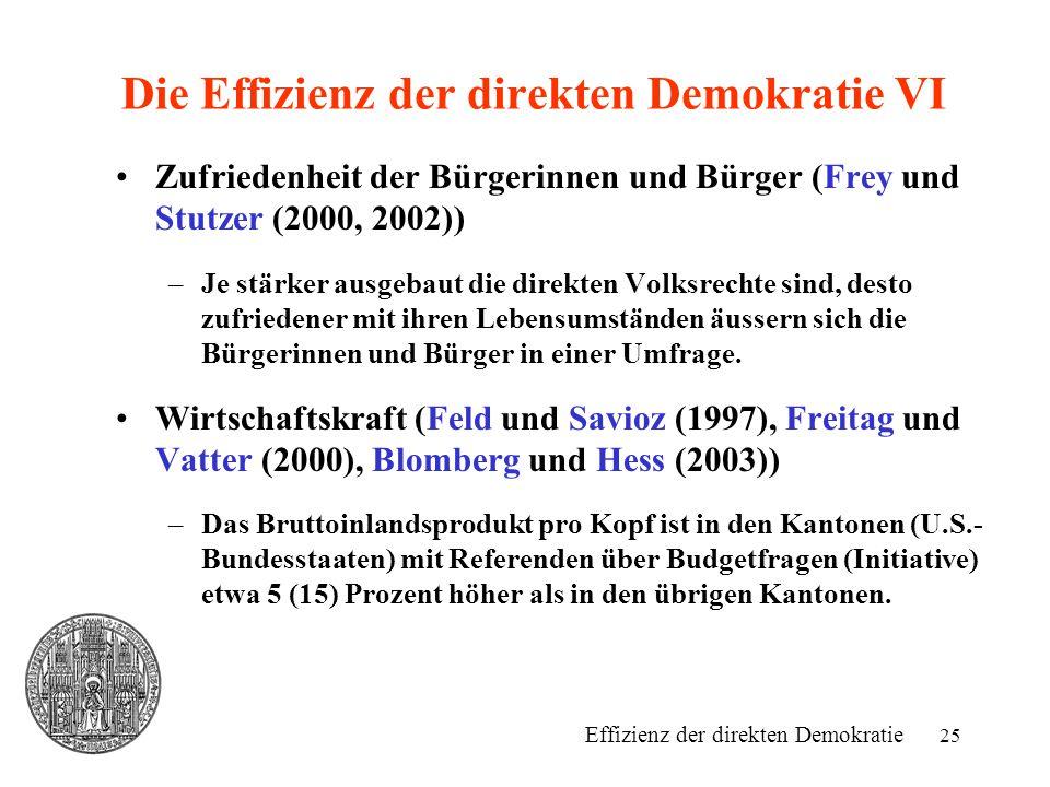 25 Die Effizienz der direkten Demokratie VI Zufriedenheit der Bürgerinnen und Bürger (Frey und Stutzer (2000, 2002)) –Je stärker ausgebaut die direkten Volksrechte sind, desto zufriedener mit ihren Lebensumständen äussern sich die Bürgerinnen und Bürger in einer Umfrage.