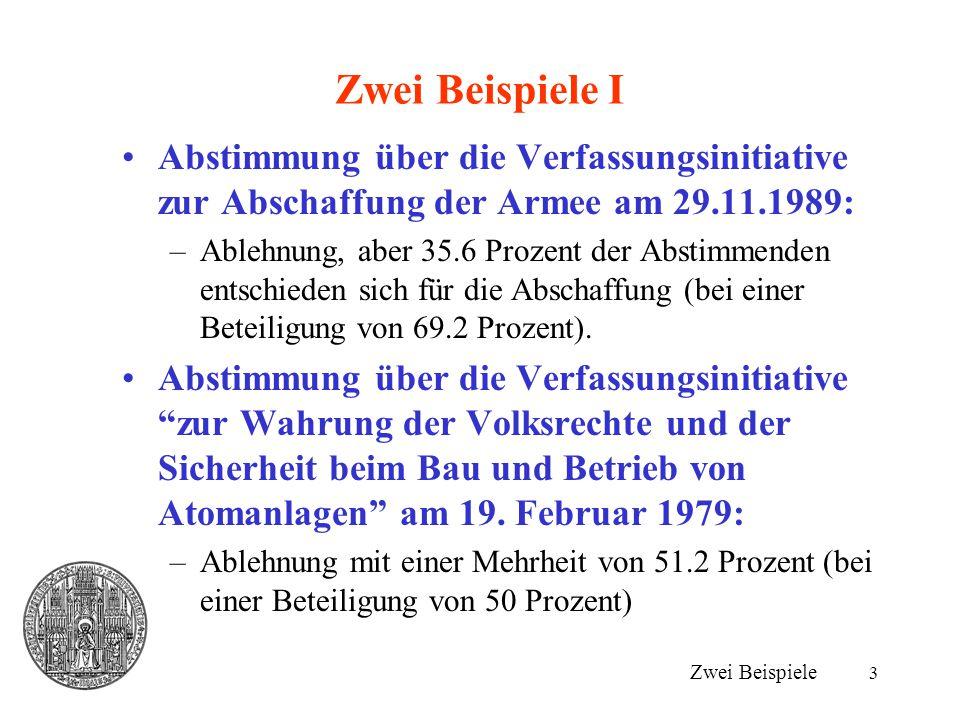 3 Zwei Beispiele I Zwei Beispiele Abstimmung über die Verfassungsinitiative zur Abschaffung der Armee am 29.11.1989: –Ablehnung, aber 35.6 Prozent der