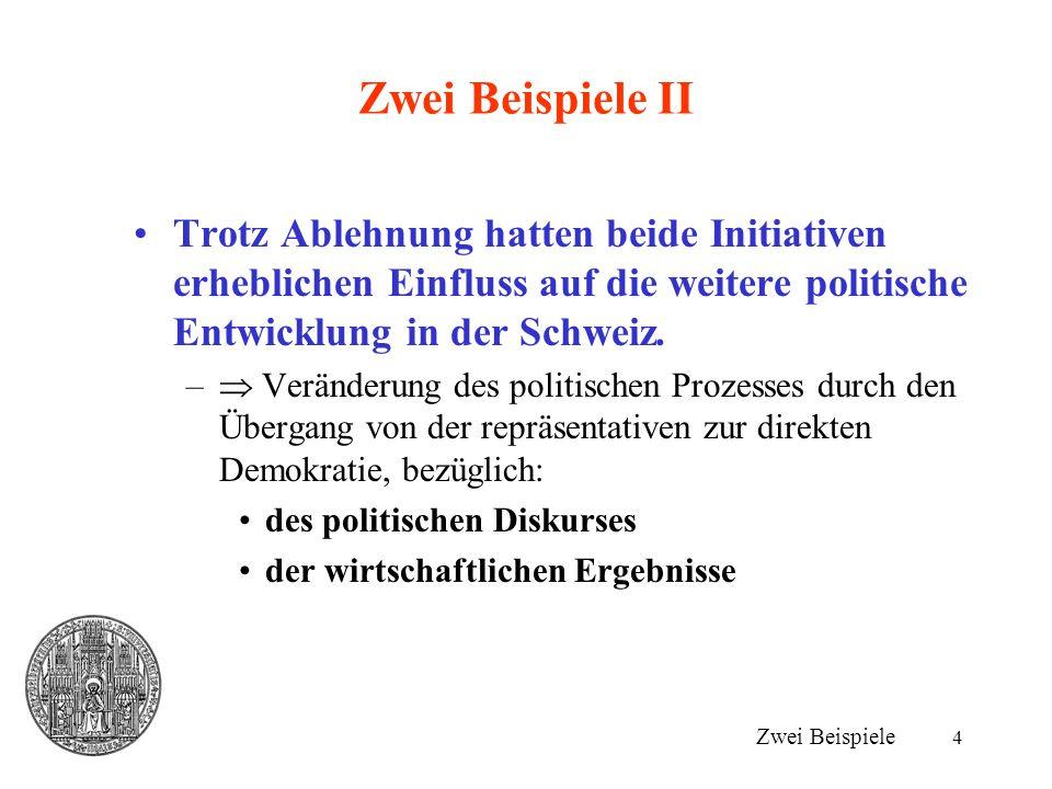 4 Zwei Beispiele II Trotz Ablehnung hatten beide Initiativen erheblichen Einfluss auf die weitere politische Entwicklung in der Schweiz.