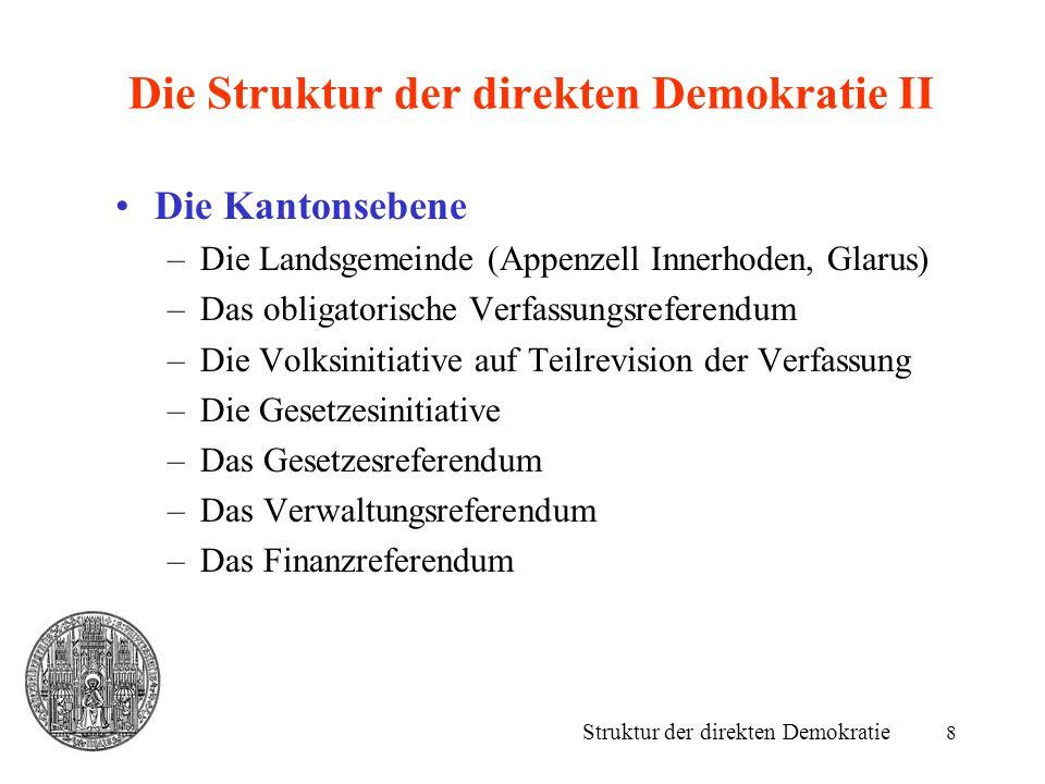 8 Die Struktur der direkten Demokratie II Die Kantonsebene –Die Landsgemeinde (Appenzell Innerhoden, Glarus) –Das obligatorische Verfassungsreferendum