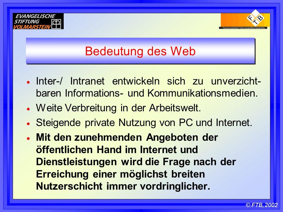 © FTB, 2002 Bedeutung des Web  Inter-/ Intranet entwickeln sich zu unverzicht- baren Informations- und Kommunikationsmedien.