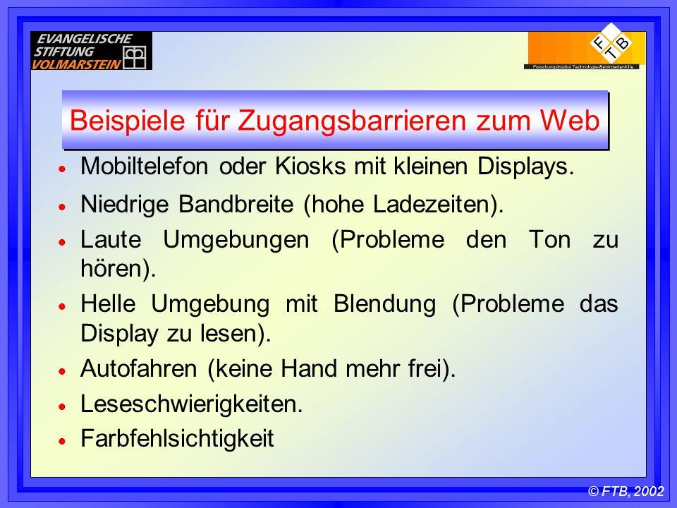 © FTB, 2002 Beispiele für Zugangsbarrieren zum Web  Mobiltelefon oder Kiosks mit kleinen Displays.