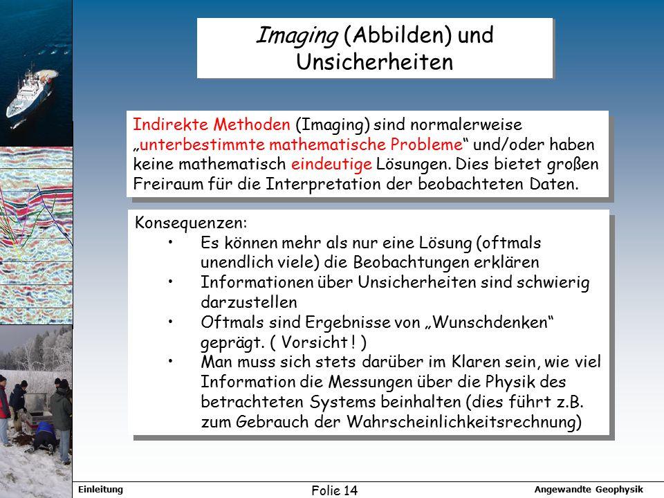 """Angewandte GeophysikEinleitung Folie 14 Imaging (Abbilden) und Unsicherheiten Indirekte Methoden (Imaging) sind normalerweise """"unterbestimmte mathematische Probleme und/oder haben keine mathematisch eindeutige Lösungen."""