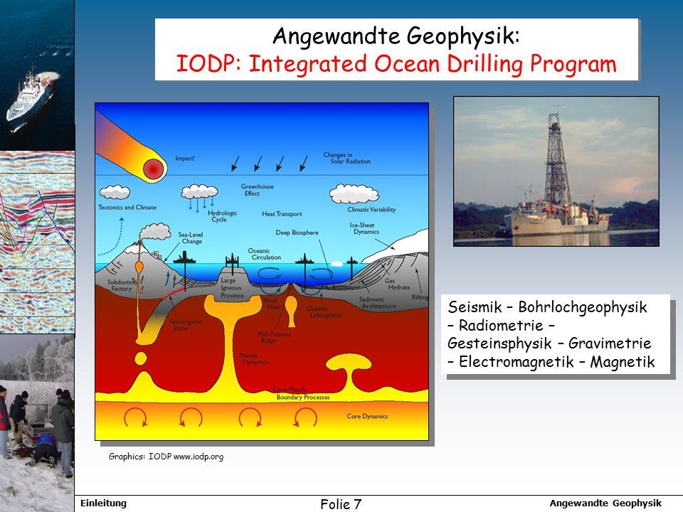 Angewandte GeophysikEinleitung Folie 7 Angewandte Geophysik: IODP: Integrated Ocean Drilling Program Seismik – Bohrlochgeophysik – Radiometrie – Gesteinsphysik – Gravimetrie – Electromagnetik – Magnetik Graphics: IODP www.iodp.org