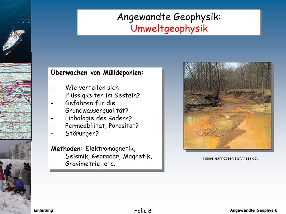 Angewandte GeophysikEinleitung Folie 8 Angewandte Geophysik: Umweltgeophysik Überwachen von Mülldeponien: -Wie verteilen sich Flüssigkeiten im Gestein.