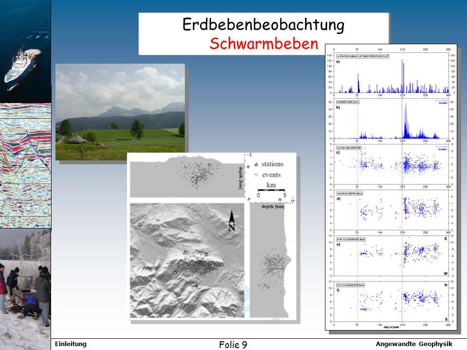 Angewandte GeophysikEinleitung Folie 9 Erdbebenbeobachtung Schwarmbeben