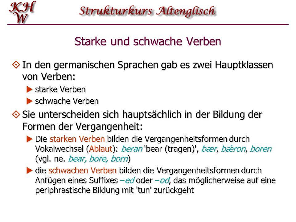 Starke und schwache Verben  In den germanischen Sprachen gab es zwei Hauptklassen von Verben:  starke Verben  schwache Verben  Sie unterscheiden s