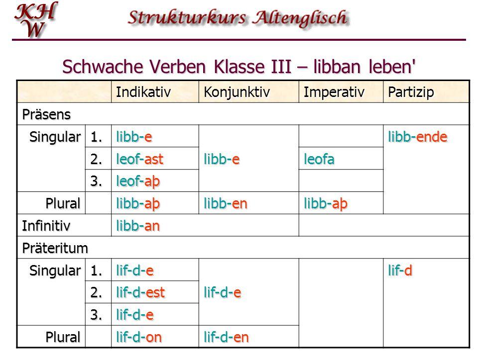 Schwache Verben Klasse III – libban leben' IndikativKonjunktivImperativPartizip Präsens Singular1. libb-e libb-ende 2. leof-ast libb-e leofa 3. leof-a