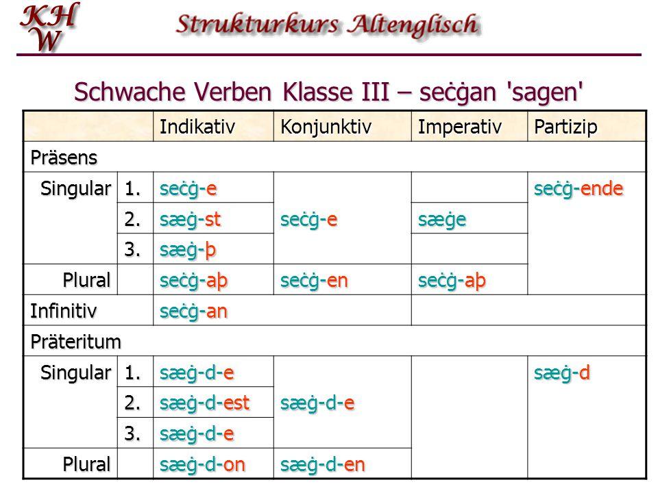 Schwache Verben Klasse III – seċġan 'sagen' IndikativKonjunktivImperativPartizip Präsens Singular1. seċġ-e seċġ-ende 2. sæġ-st seċġ-e sæġe 3. sæġ-þ Pl