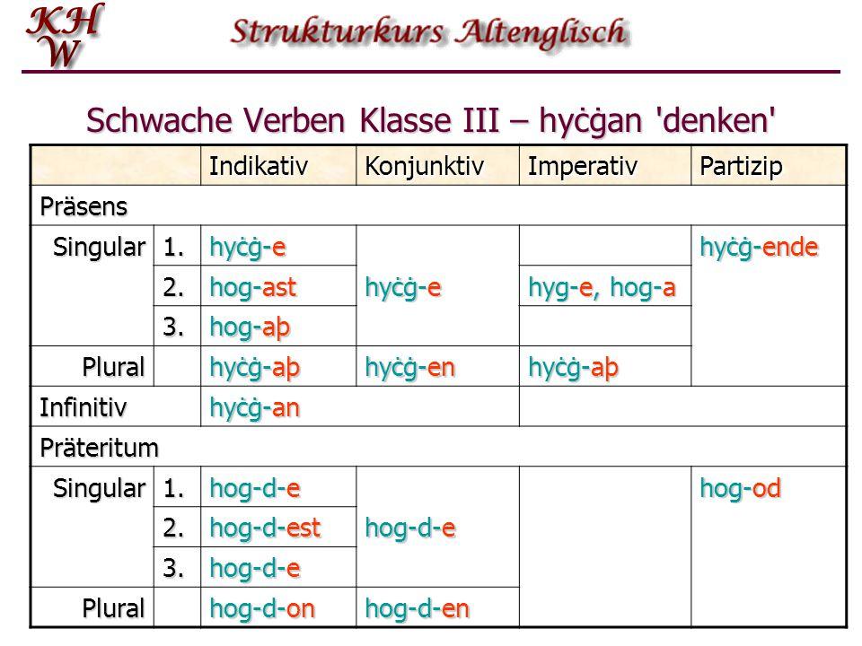 Schwache Verben Klasse III – hyċġan 'denken' IndikativKonjunktivImperativPartizip Präsens Singular1. hyċġ-e hyċġ-ende 2. hog-ast hyċġ-e hyg-e, hog-a 3