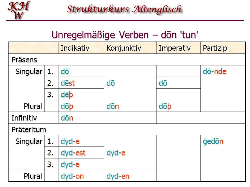 Unregelmäßige Verben – dōn 'tun' IndikativKonjunktivImperativPartizip Präsens Singular1. dōdōdōdō dō-nde 2. dēst dōdōdōdō dōdōdōdō 3. dēþ Plural dōþdō
