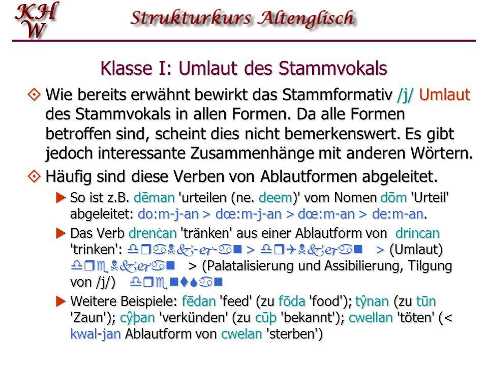 Klasse I: Umlaut des Stammvokals  Wie bereits erwähnt bewirkt das Stammformativ /j/ Umlaut des Stammvokals in allen Formen. Da alle Formen betroffen