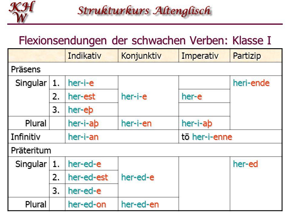 Flexionsendungen der schwachen Verben: Klasse I IndikativKonjunktivImperativPartizip Präsens Singular1. her-i-e heri-ende 2. her-est her-i-e her-e 3.