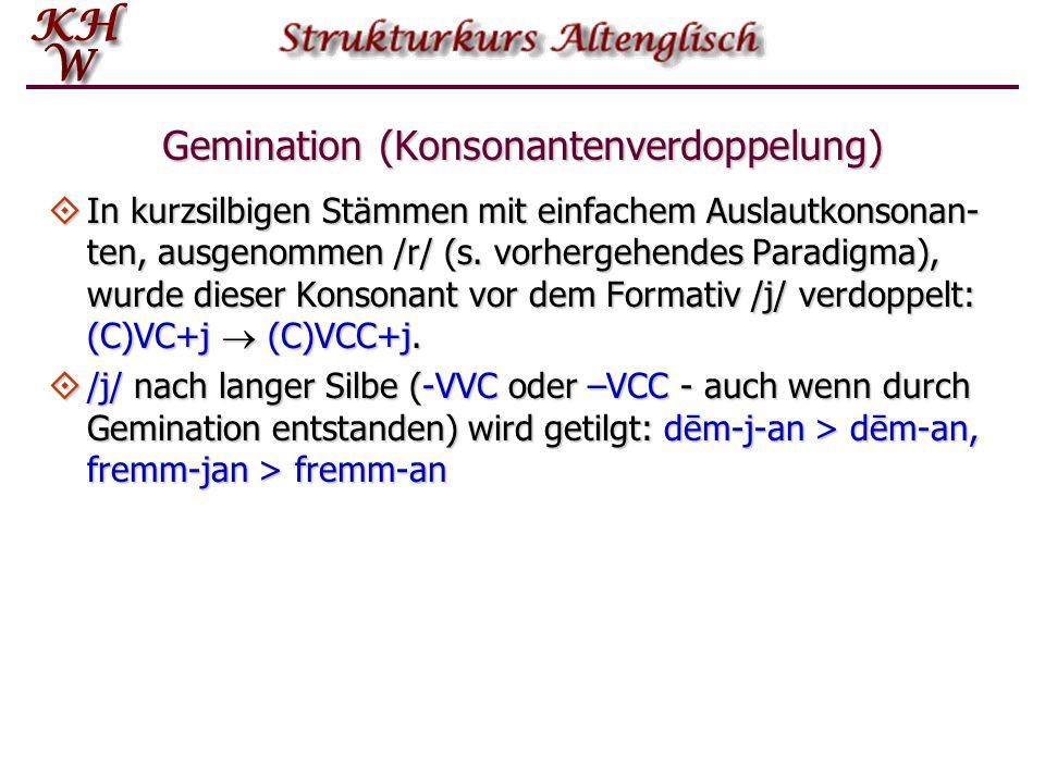 Gemination (Konsonantenverdoppelung)  In kurzsilbigen Stämmen mit einfachem Auslautkonsonan- ten, ausgenommen /r/ (s. vorhergehendes Paradigma), wurd