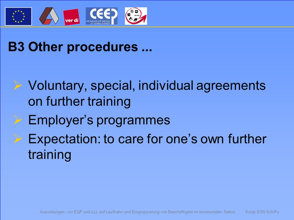 Auswirkungen von EQF und LLL auf Laufbahn und Eingruppierung von Beschäftigten im kommunalen Sektor Koop SON Sch/Pu B2 Regelungen zu Qualifizierungsmaßnahmen  Programmes on lifelong-learning (22) e.g.