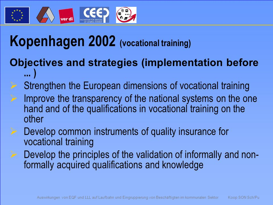 "Auswirkungen von EQF und LLL auf Laufbahn und Eingruppierung von Beschäftigten im kommunalen Sektor Koop SON Sch/Pu Memorandum LLL Brussels 2001 Content: ""to create an area of lifelong learning Objectives:  Empower people to choose free among learning environments, jobs, regions and countries in order to use their knowledge and capacities in an optimal way  Welfare, integration, tolerance and democracy in the member states"