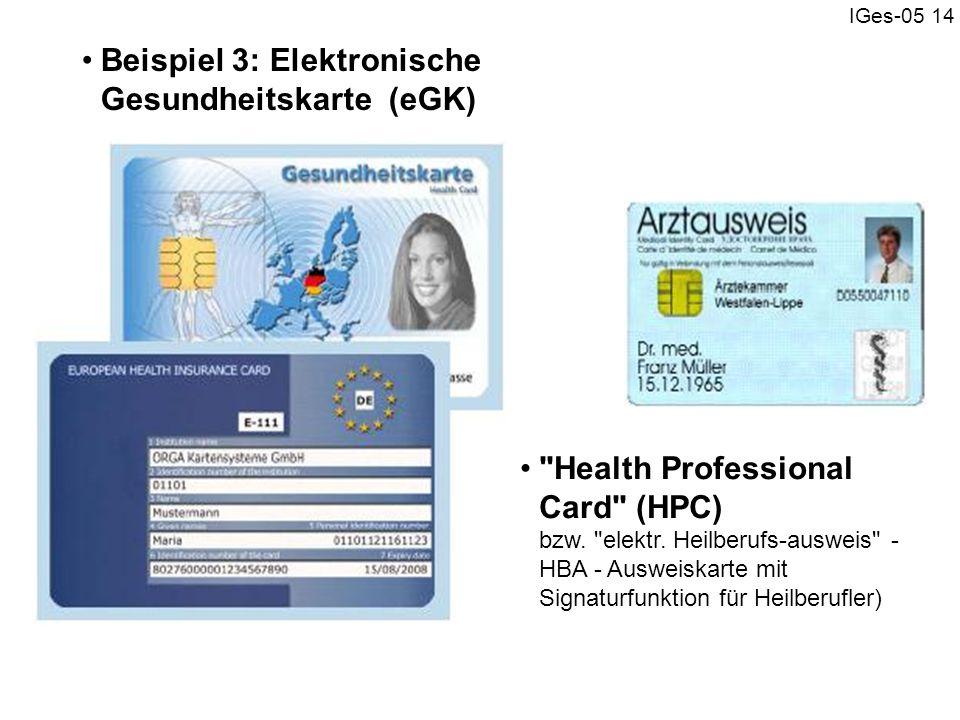 IGes-05 14 Beispiel 3: Elektronische Gesundheitskarte (eGK)