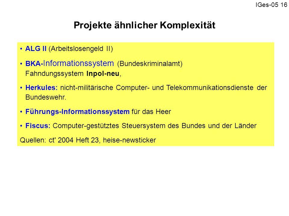 IGes-05 16 ALG II (Arbeitslosengeld II) BKA- Informationssystem (Bundeskriminalamt) Fahndungssystem Inpol-neu, Herkules: nicht-militärische Computer-