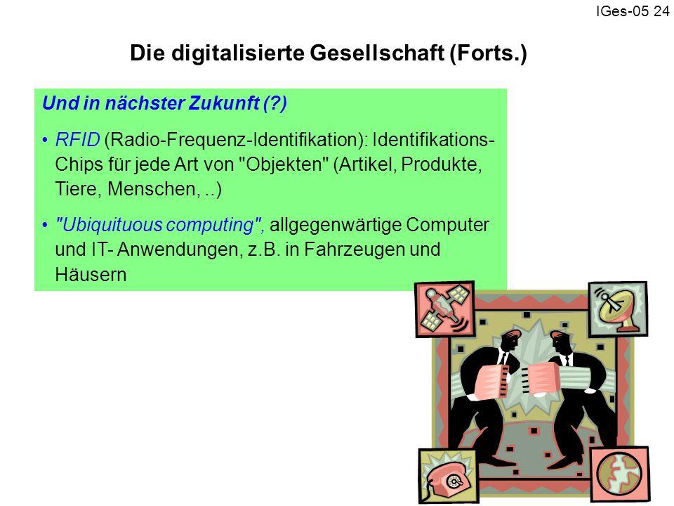 IGes-05 24 Und in nächster Zukunft (?) RFID (Radio-Frequenz-Identifikation): Identifikations- Chips für jede Art von