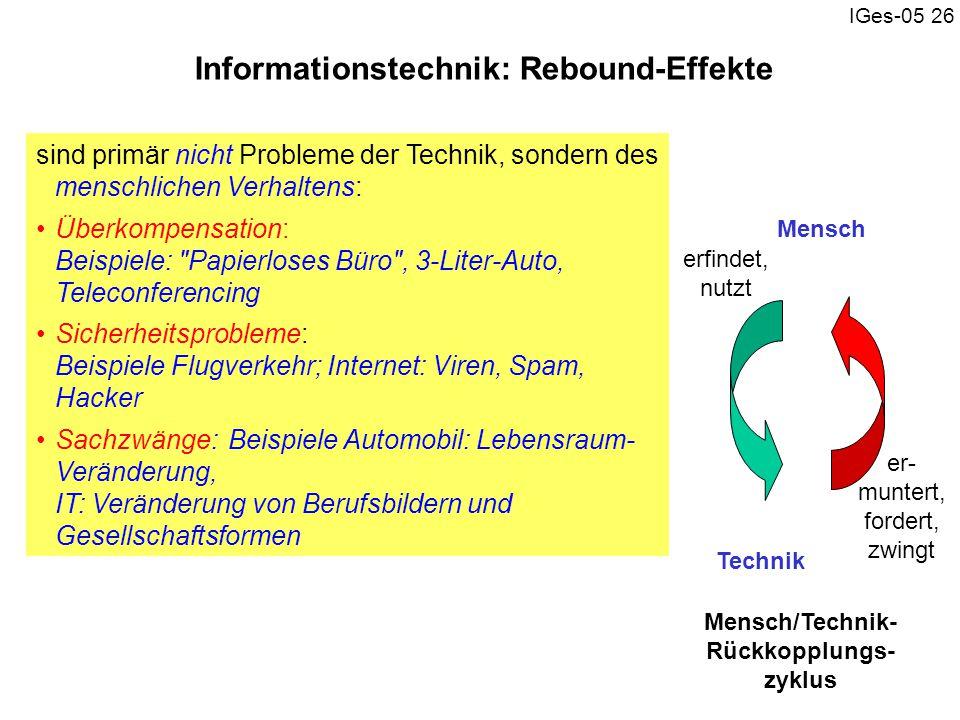 IGes-05 26 Informationstechnik: Rebound-Effekte sind primär nicht Probleme der Technik, sondern des menschlichen Verhaltens: Überkompensation: Beispie