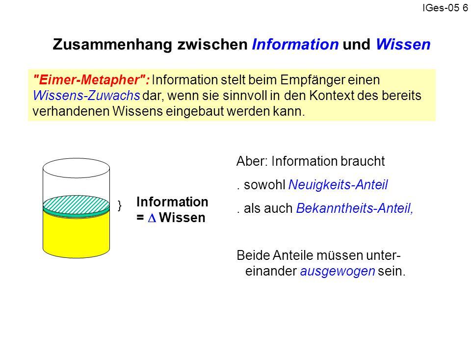 IGes-05 6 Zusammenhang zwischen Information und Wissen Aber: Information braucht. sowohl Neuigkeits-Anteil. als auch Bekanntheits-Anteil, Beide Anteil