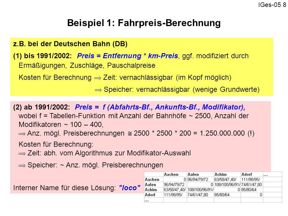 IGes-05 8 z.B. bei der Deutschen Bahn (DB) (1) bis 1991/2002: Preis = Entfernung * km-Preis, ggf. modifiziert durch Ermäßigungen, Zuschläge, Pauschalp