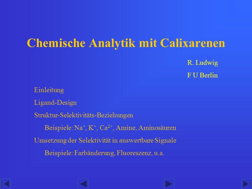 Chemische Analytik mit Calixarenen Einleitung Ligand-Design Struktur-Selektivitäts-Beziehungen Beispiele: Na +, K +, Ca 2+, Amine, Aminosäuren Umsetzu
