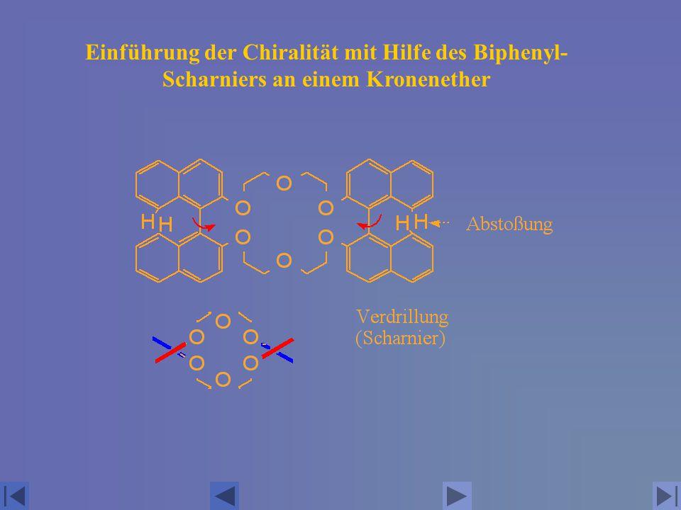 Einführung der Chiralität mit Hilfe des Biphenyl- Scharniers an einem Kronenether